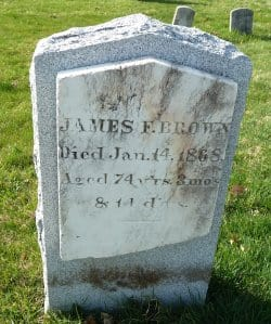 Tomb Stone of James F. Brown from St. Luke beacon Cemetery